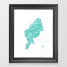 Seated Figure Blue Framed Art Print