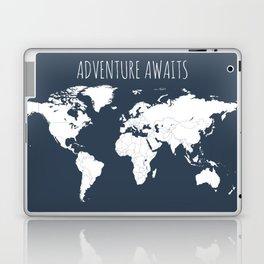 Adventure Awaits World Map in Navy Blue Laptop & iPad Skin