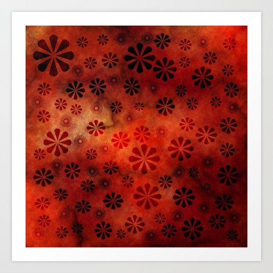 Burnt Orange Flowers Pattern Art Print