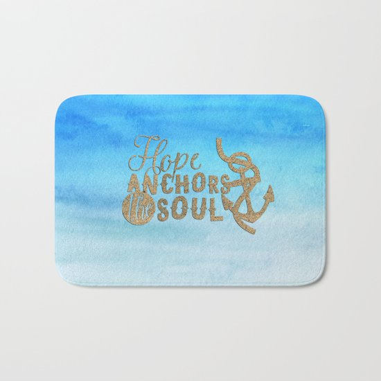 Hope anchors the soul - Typography maritime Bath Mat