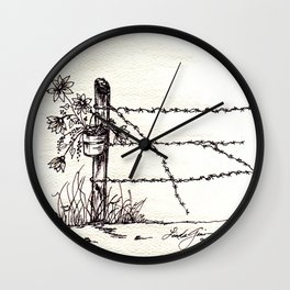 Old Fence Post Wall Clock
