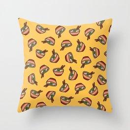 Ramen Bowl Pattern in Orange Throw Pillow