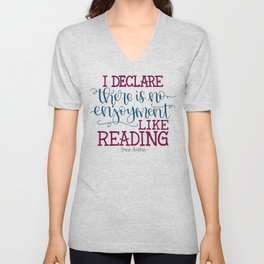 Jane Austen Quote (Deep Colors) Unisex V-Neck