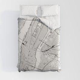 New York City White Map Duvet Cover