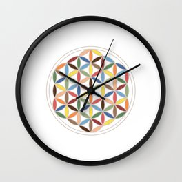 Flower of Life Retro Colors Wall Clock