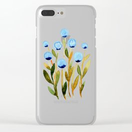 Simple watercolor flowers - blue and sap green Clear iPhone Case