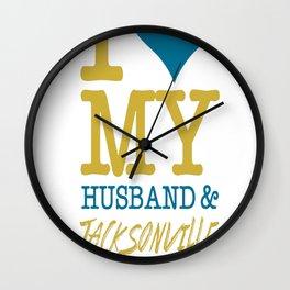 I Love My Husband&Jacksonville Football.. Wall Clock