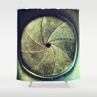 aperture Shower Curtains featuring aperture1 by Art by Kaitlyn Alyse