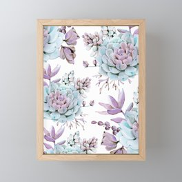 Turquoise and Violet Succulents Framed Mini Art Print