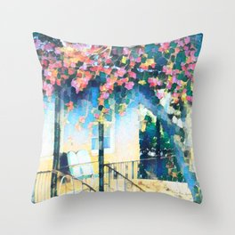 Old Porch of Pink and Teal by CheyAnne Sexton Throw Pillow