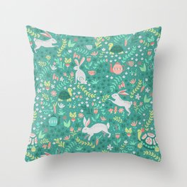 Spring Pattern of Bunnies with Turtles Throw Pillow