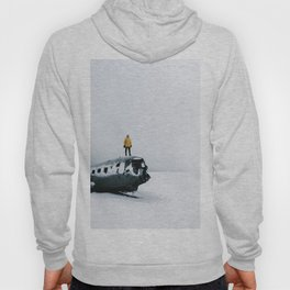 Plane wreck in Iceland with person - Landscape Photography Hoody
