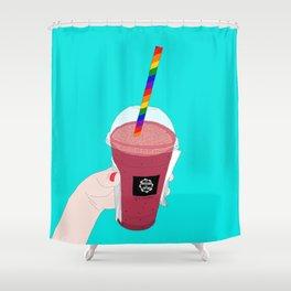 Salted Caramel Raspberry Ice Frappe Shower Curtain