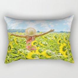 Woman Free in Sunflower Field Rectangular Pillow