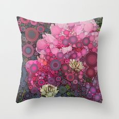 Pink Flowers at Twilight Abstract Throw Pillow