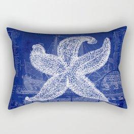 Vintage Starfish Blueprint Rectangular Pillow