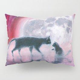 cats meeting at full moon Pillow Sham