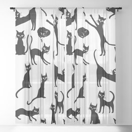 Black cats, seamless patten Sheer Curtain