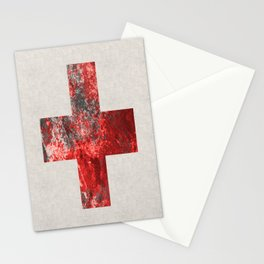 Medic - Abstract Medical Cross In Red And Black Stationery Cards