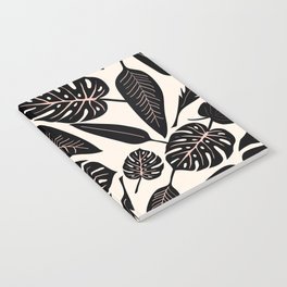 Monstera pattern in black and pastel Notebook