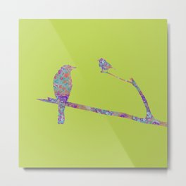 Bird and Birdie on Branches Chartreuse Purple Orange Turquoise Teal Metal Print