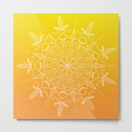 White Mandala on Warm Gradient Metal Print