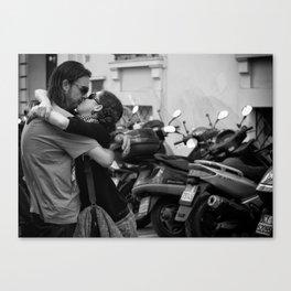 The kiss portrait in black Canvas Print
