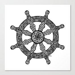 Zentangle - Dharma Wheel  Canvas Print