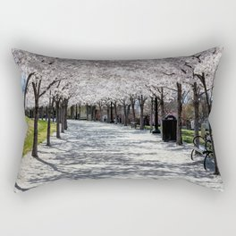 Cherry Blossoms Bloom along Sandy Path at Utah State Capitol Rectangular Pillow