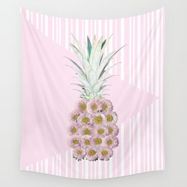Floral Pineapple Stripes Pink Wall Tapestry