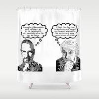 steve jobs Shower Curtains featuring Jobs vs. Einstein by Rebecca Bear