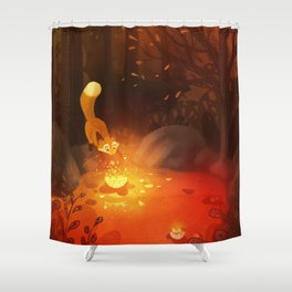 Fox and the Flower Shower Curtain