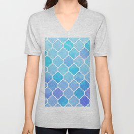 Blue and purple glass Moroccan print Unisex V-Neck