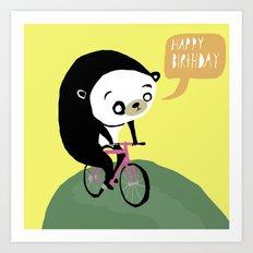 Panda on a bike Art Print