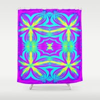 psychedelic Shower Curtains featuring psychedelic Floral Fuchsia Aqua by 2sweet4words Designs