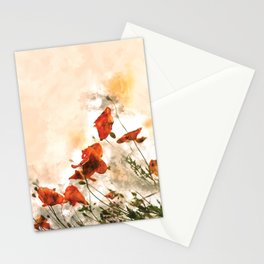 Red Poppy #floral #watercolor Stationery Cards