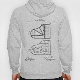 Steinway Grand Piano Patent - Piano Player Art - Black And White Hoody