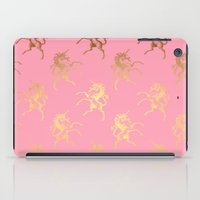 bisexual iPad Cases featuring Golden Unicorns on rose quartz pattern by Better HOME