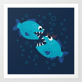 Gossiping Blue Piranha Fish Art Print