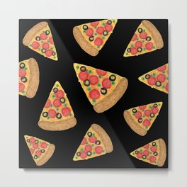 Pizza Party Black Pattern Metal Print