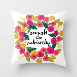 Smash the Patriarchy Wreath Throw Pillow