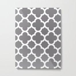Gray Quatrefoil Metal Print
