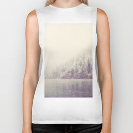 the beauty of a mountain lake on a snowy winters day Biker Tank