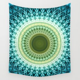 Mandala in green, blue and yellow tones Wall Tapestry