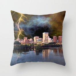 Stormy Richmond Skyline Throw Pillow