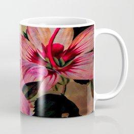 Vintage Painted Pink Lily Coffee Mug