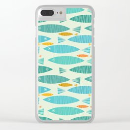 Shimmering Scandinavian Fish In Blue And Gold Pattern Clear iPhone Case