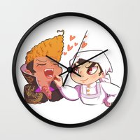 dangan ronpa Wall Clocks featuring Baking together by AMC Art