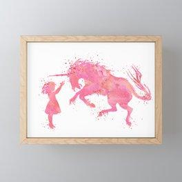 Girl and Unicorn Fantasy Silhouette Artwork Framed Mini Art Print