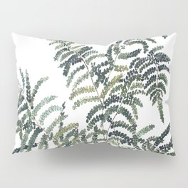 Woodland Fern Botanical Watercolor Illustration Painting Pillow Sham